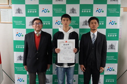 高橋一輝君(機械工学科3年)が長野県高等学校体育連盟より表彰されました